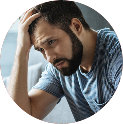Men suffering of some health issue