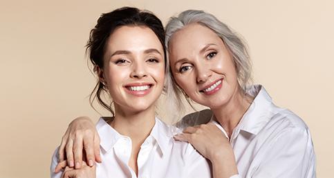 Women feeling happy to use anti-aging treatment